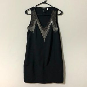 H&M Black and White bead Dress